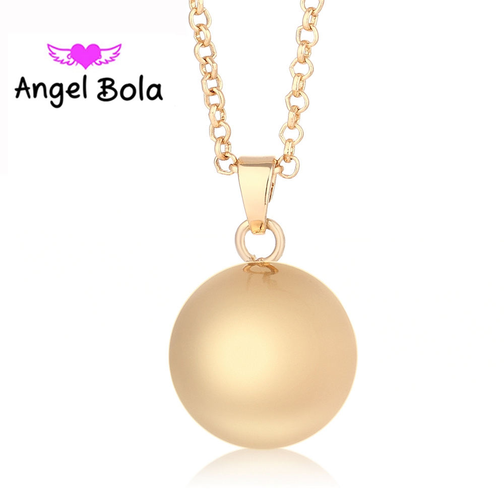 25Pcs Wholesale Angel Bola Lucky 18mm/25mm Engelsrufer Round Sound Harmony Caller Pendant DIY Angel Wing Necklace L052