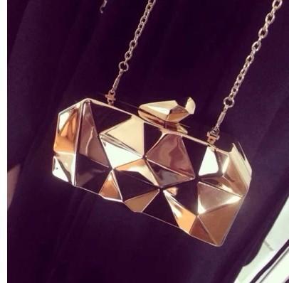 2017 new fashion geometric three-dimensional metal chain ladies handbag evening bag day clutches mini purse shoulder bag flap