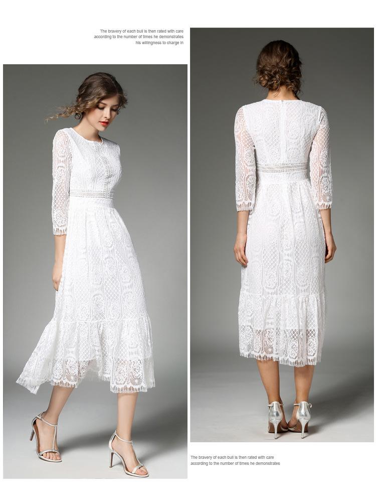 Elegant Women Long White Lace Dress Vetement Femme 2017 Robe Longue Ladies Summer Maxi Dress Dames Jurken K942578 4