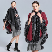SC249 Winter Cape Thick Black With Red Coat 2019 Poncho Women Double Side Faux Fur Neck Plus Size Big Pendulum Dovetail Cardigan