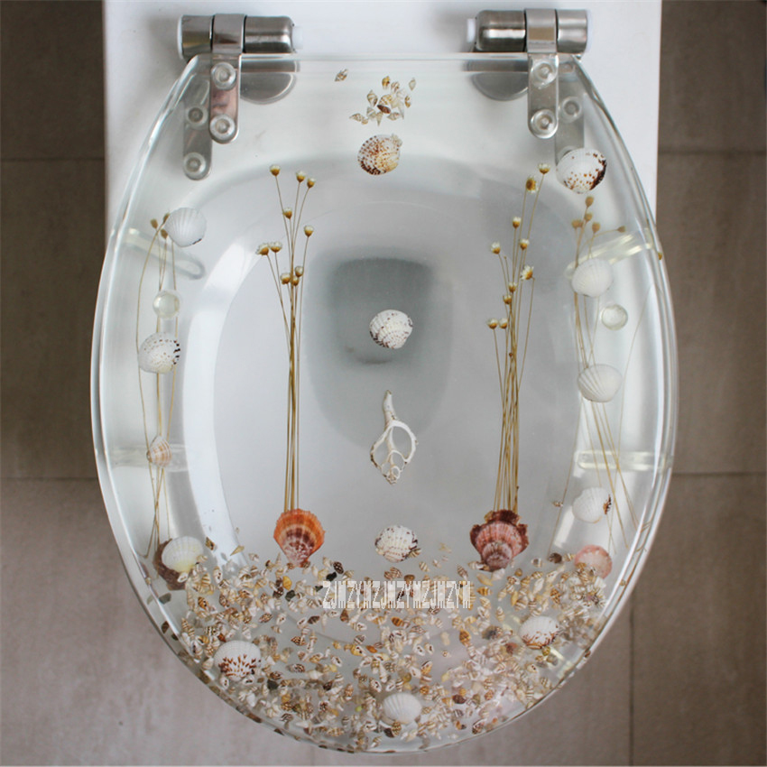 New 47 38CM High grade Beautiful Resin Toilet Seat Cover Stainless Steel Slow Down Toilet Cover