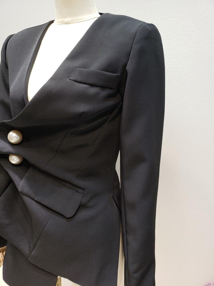 Irrégulière Grosse Long Getsring Blazer Unique Manches Femmes Longues Dames Poitrine Perle Vestes À Veste Black Tordu Blazers 4qwXE6rw