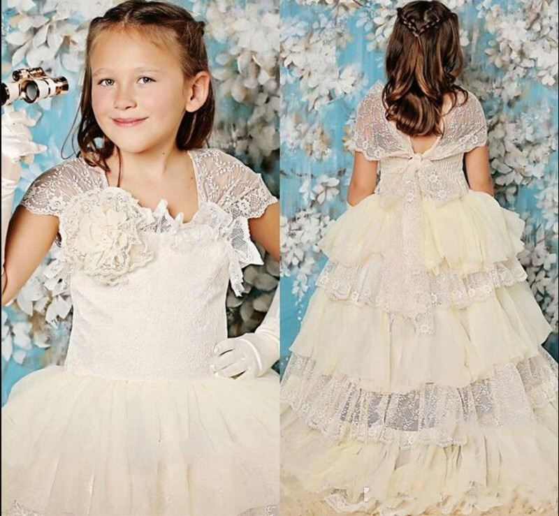 Unique Tiered Tulle Lace   Flower     Girl     Dress   For Church Wedding Short Sleeves Backless Holy First Communion Gowns Custom Made Long
