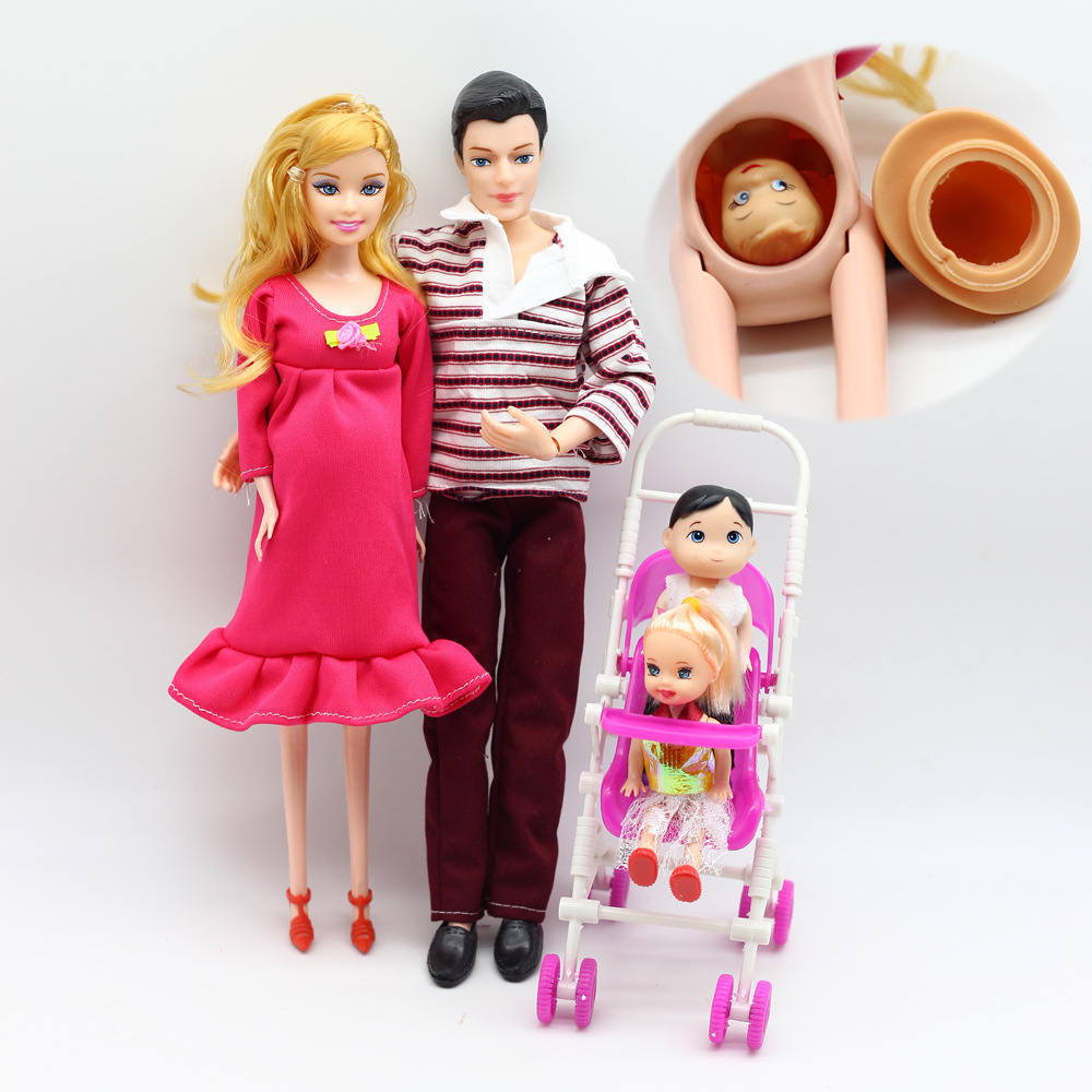 Dolls family toys set little girl little boy pregnant mother father small cart happy family kit children toy in Dolls from Toys Hobbies