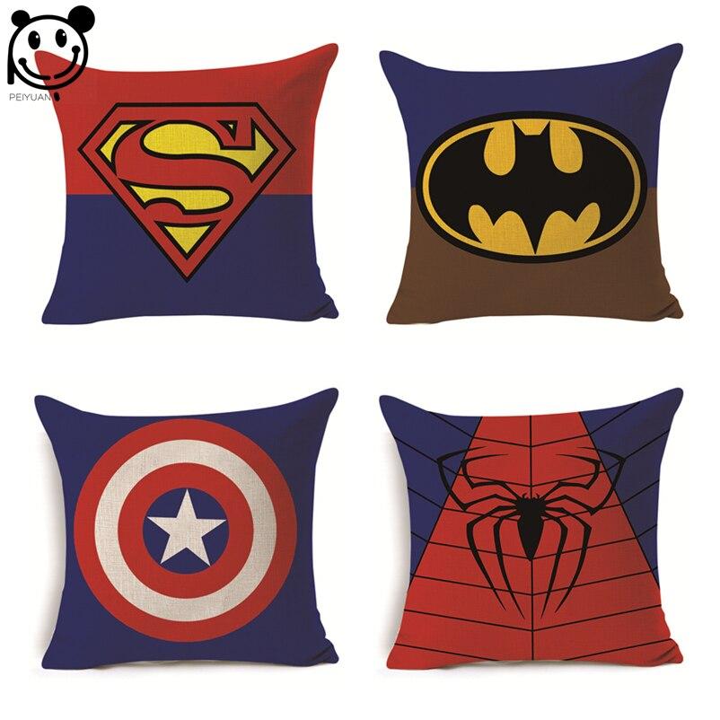 Cartoon Super Hero Series Cushion Cover Superman Spider Man Batman Captain Square Pillow Case Linen Car Sofa Chair Pillow Cover