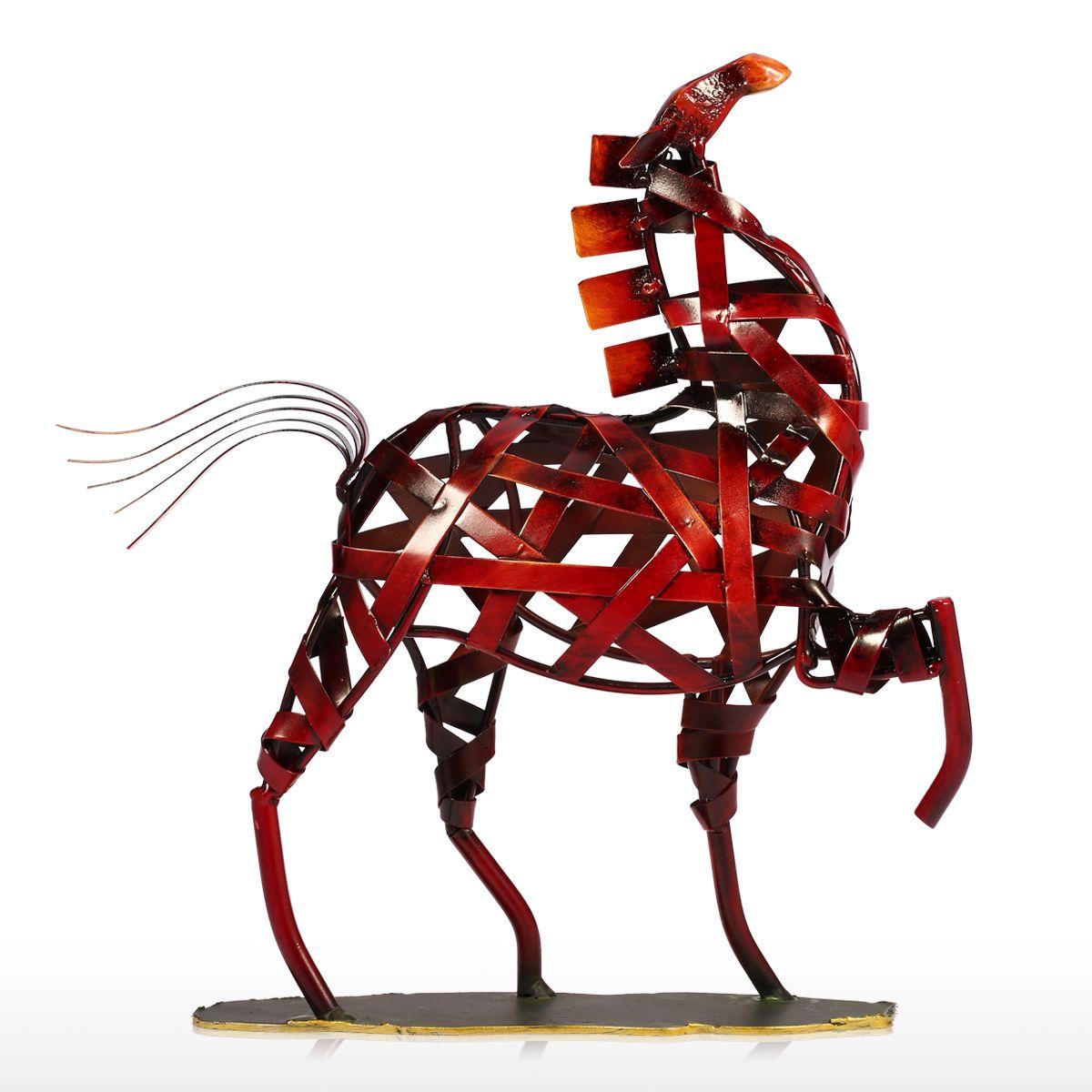 Tooarts Metal Braided Horse Artwork Sculpture Iron Weaving Horse