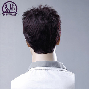 Image 4 - MSIWIGS 6 Inches Short Straight Wigs for Men Wine Red Toupee Natural Men Wig Hair Synthetic Fiber Heat Resistant