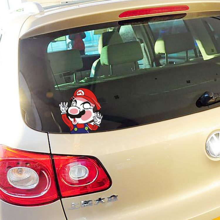 Aliauto funny super mario hit the window glass car sticker and decal accessories for ford focus volkswagen polo golf peugeot in car stickers from