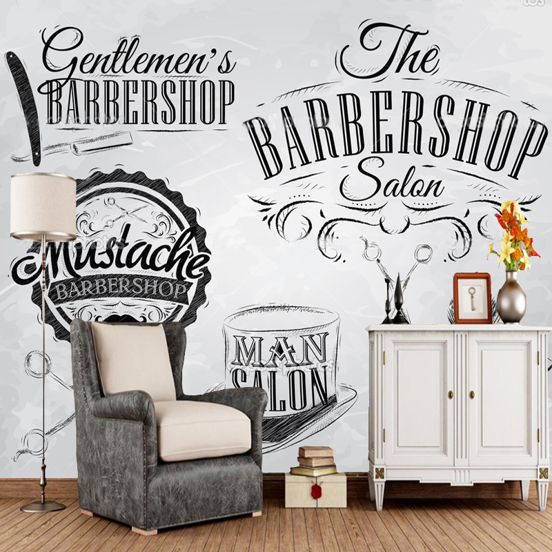 Us 11 1 63 Off Barber Wallpaper Set Barbershop Murals For Living Room Barber Shop Shopping Mall Background Wall Pvc Papel De Parede Roll In