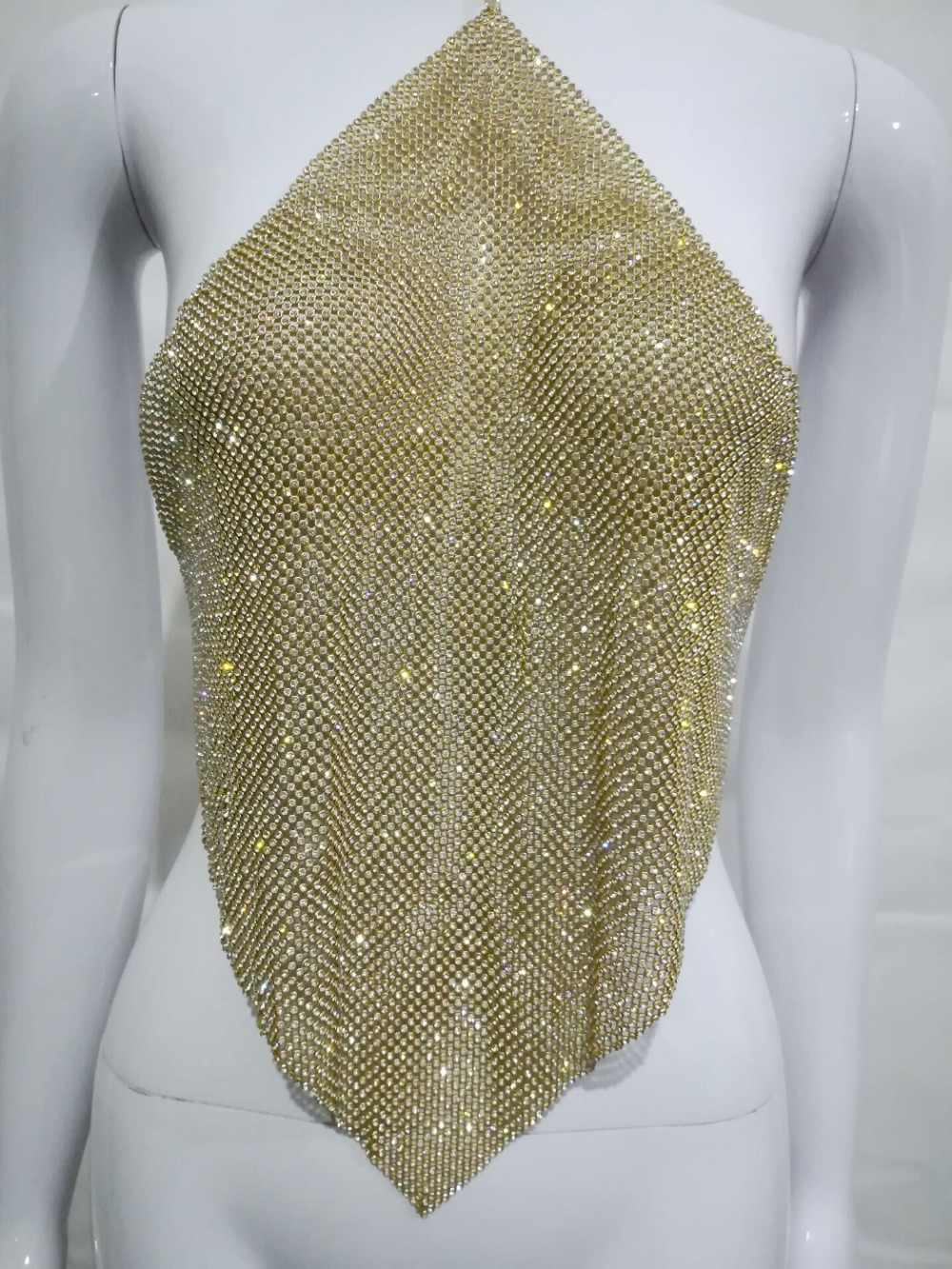 798682ca ... Crystal Mesh Top Womens Diamond Metal Crop Top 2018 Sexy Gold Silver  black Sequin Draped Chain ...