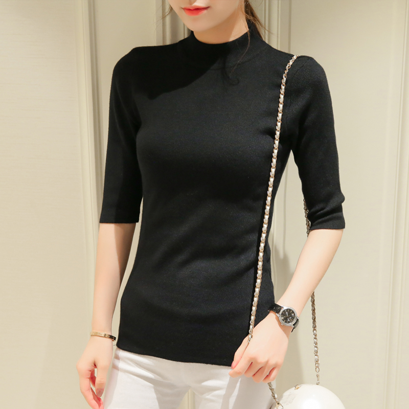 sleeve head sleeve five spring and autumn cultivation in semi thin section of sleeve tight turtleneck sweater backing 2