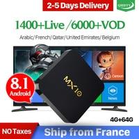 IPTV France MX10 Android 8.1 RK3328 4G 64G with 1 Year IPTV France Italia Netherlands Belgium Arabic QHDTV IPTV Set Top Box