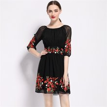 b3ac5c72aa 2017 Luxury Summer Dress Women New Fashion Floral Embroidery Dress Casual  Sexy party Dresses Hot Sale alibaba express