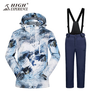Hooded Waterproof Snowboard Jacket Pants Boys Ski Suit Set Winter Children Kids Ski Jacket and pants Sport With Detachable
