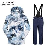 Hooded Waterproof Snowboard Jacket Pants Boys Ski Suit Set Winter Children Kids Ski Jacket and pants Sport With Detachable