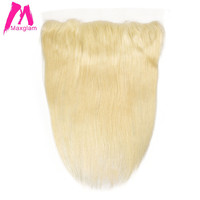 Maxglam Lace Frontal Closure 13x4 Pre Plucked Hairline Brazilian Hair Straight Blonde Color 613 Remy Human Hair Free Shipping