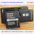 3pcs=2x Highscreen Alpha Rage Cell Phone Battery 1500mAh 3.7V + 1x YIBOYUAN Dock Wall Battery Charger