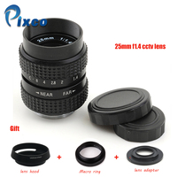 Pixco 25mm f/1.4 cc lente de tv + capa de lente + anel macro + c montagem para adaptador de câmera para nikon1 m4/3/para pentax q nex para fuji fx