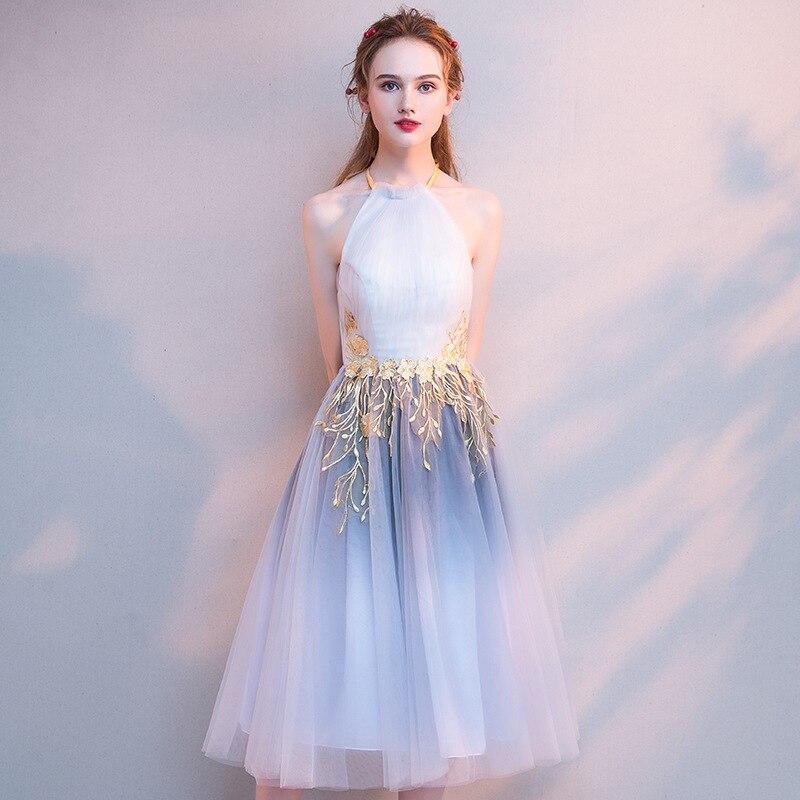 2019 automne élégant femmes robes de soirée licou sans manches dentelle maille mince robe de soirée robes formelles