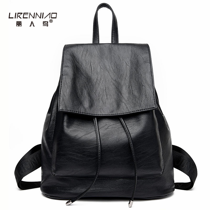 LIRENNIAO Vintage Leather Backpack Women Solid Drawstring School Bags For Teenagers mochila mujer Softback Travel Woman