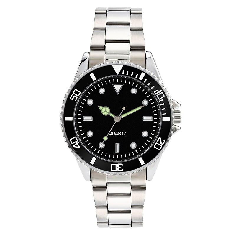 304 de acero inoxidable banda de reloj para hombres de lujo relojes para hombre a prueba de agua rotativa bisel negro dial