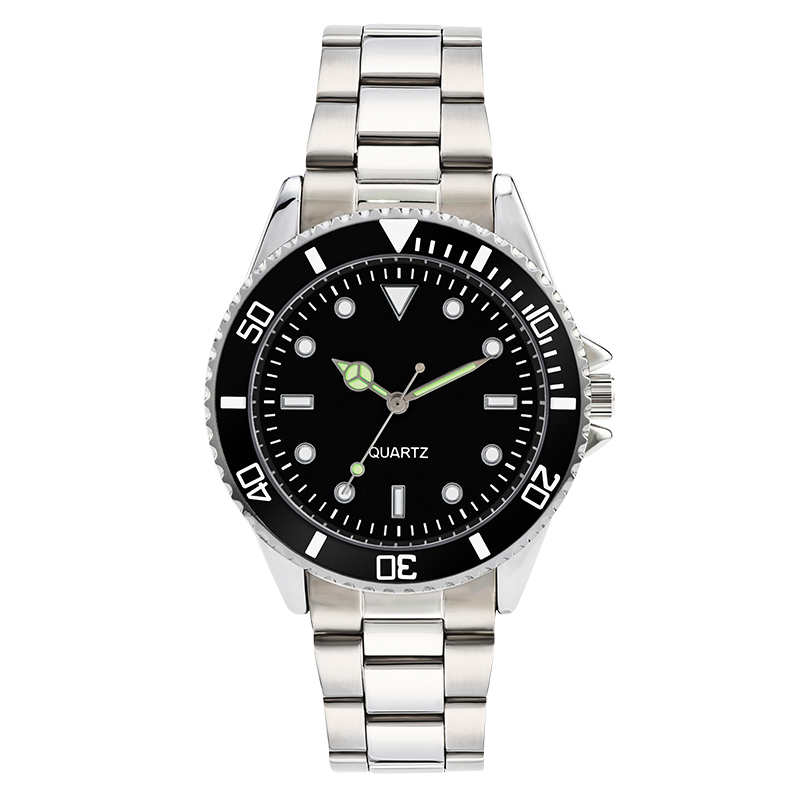 304 stainless steel band business watch for men luxury mens watches water proof rotary bezel black dial