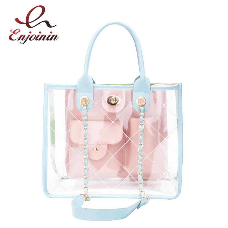 Trend New Style Design Transparent PVC Color Pu Leather Ladies Handbag ShoulderBag Chain Bag Beach Shopping Bag Pouch For Women