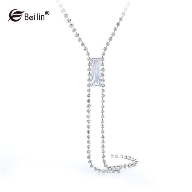 Nueva Llegada de Perlas de Cristal Suéter de los Collares de Cadena Larga de La Borla Collar Collar Llamativo Joyería de Moda Para Las Mujeres (HJX11799)