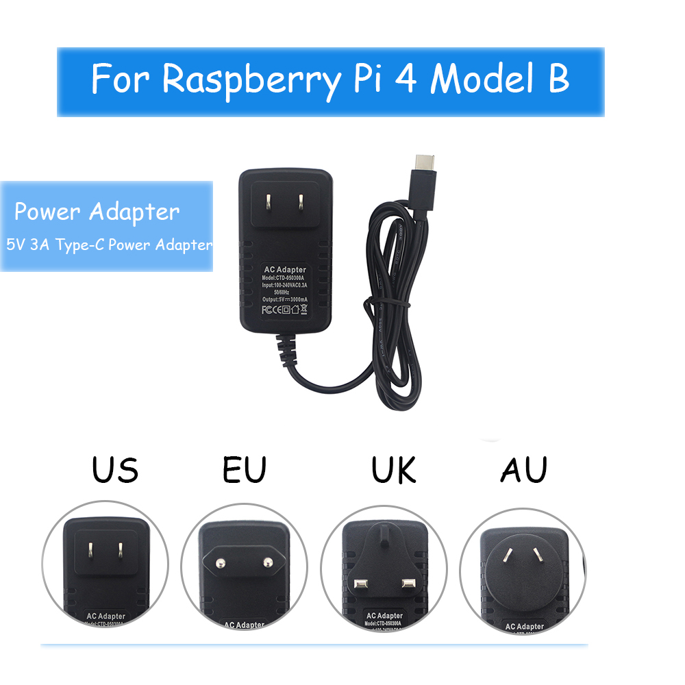 Raspberry Pi 4 Modle B Power Charger 5V/3A Type-C Power Adapter Supply EU/ US/ UK/ AU Plug For Raspberry Pi 4B