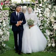 Vượt thời gian Ren Vạt Áo Wedding Dresses 2019 Dài Tay Áo Vải Tuyn Có Thể Tháo Rời Overskirts Thanh Lịch Bridal Gowns Noivas ZW153