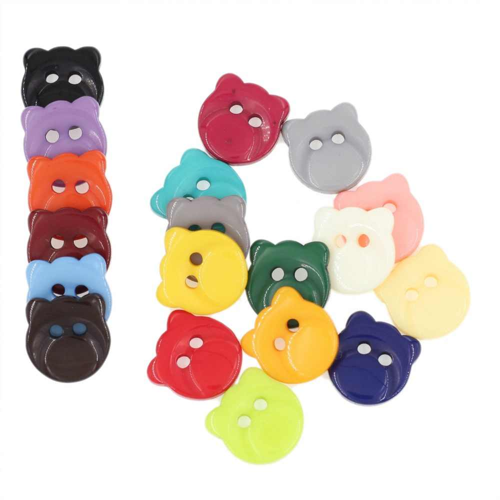 200 шт./лот Мути цвет Cat в форме смолы Детские пуговицы для Пошив скрапбукинга