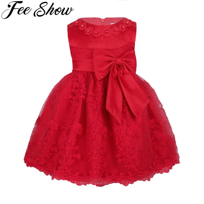 Winter Infant Baby Girls Flower Girl Dress 1st Birthday Outfits Vestido Ball Gown Children Kids Princess Party Girl Formal Dress