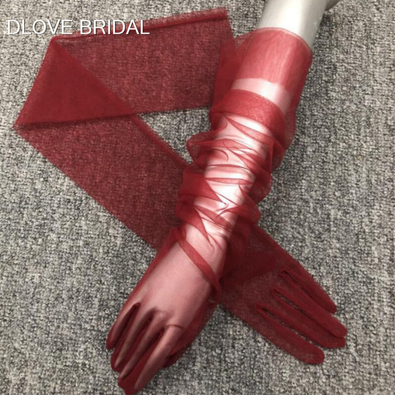 Simple Long Sheer Tulle Gloves 9 Colors Wedding Bridal Party Gloves Full Finger Elbow Photo Shooting Accessory Halloween Gloves
