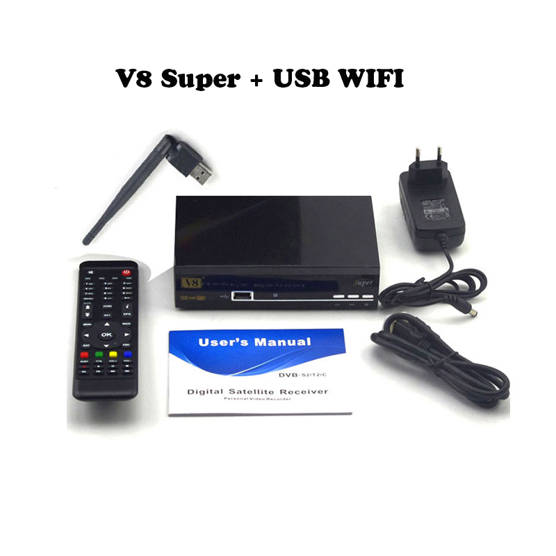 Ship from Spain FREESAT V8 Super dvb-s2 TV receiver HD Satellite Receiver support Europe clines server 1 year Satellite Receiver freesat v8 super receptor satellite receiver support powervu dre