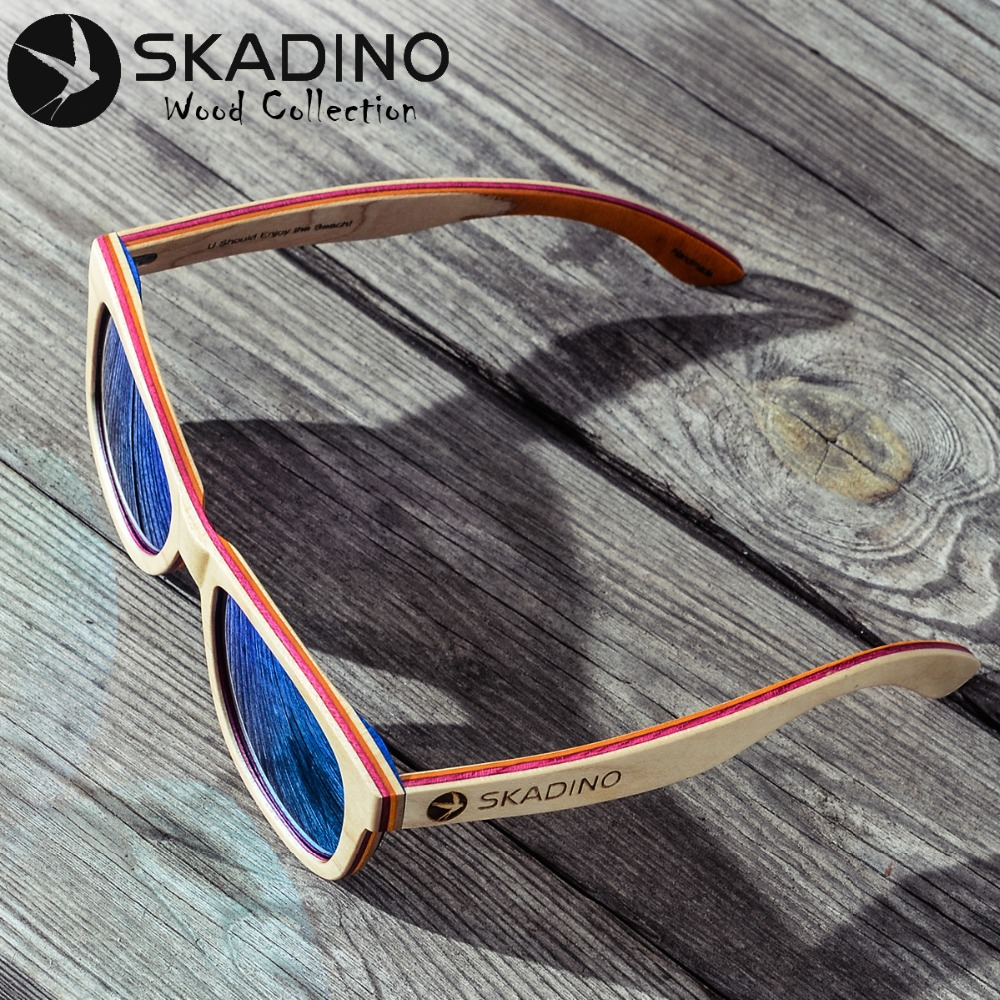 SKADINO Wood Sunglasses UV400 Polarized driving Sun Glasses Skateboard for Women Men Female Pink Lens Wooden Handmade Cool Brand