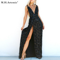 M H Artemis Gold After Party Sequined Maxi Long Dress Bohemian Slit Side Cross Back