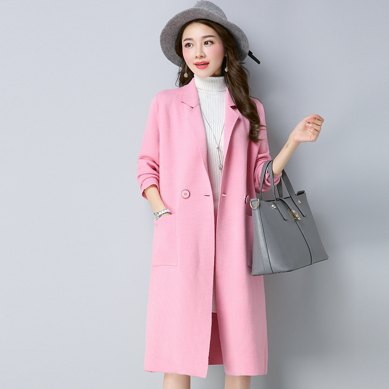 2017 Winter Long Sweater Coat for Women Turn Down Formal Long Cardigans Christmas Sweaters Oversized Coat Knitted camisola 0822