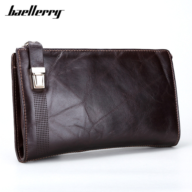 Baellerry New Designer Long Men Wallet Luxury Brand Dollar Price Wallets Male Genuine Leather Zipper Big Capacity Purse Hand Bag baellerry small mens wallets vintage dull polish short dollar price male cards purse mini leather men wallet carteira masculina