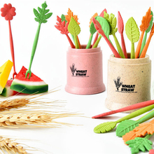 Green Biodegradable Wheat Straw Leaves Fruit Fork Set For Party Cake Salad Vegetable Forks Picks Table Decor Tools Supplies P30