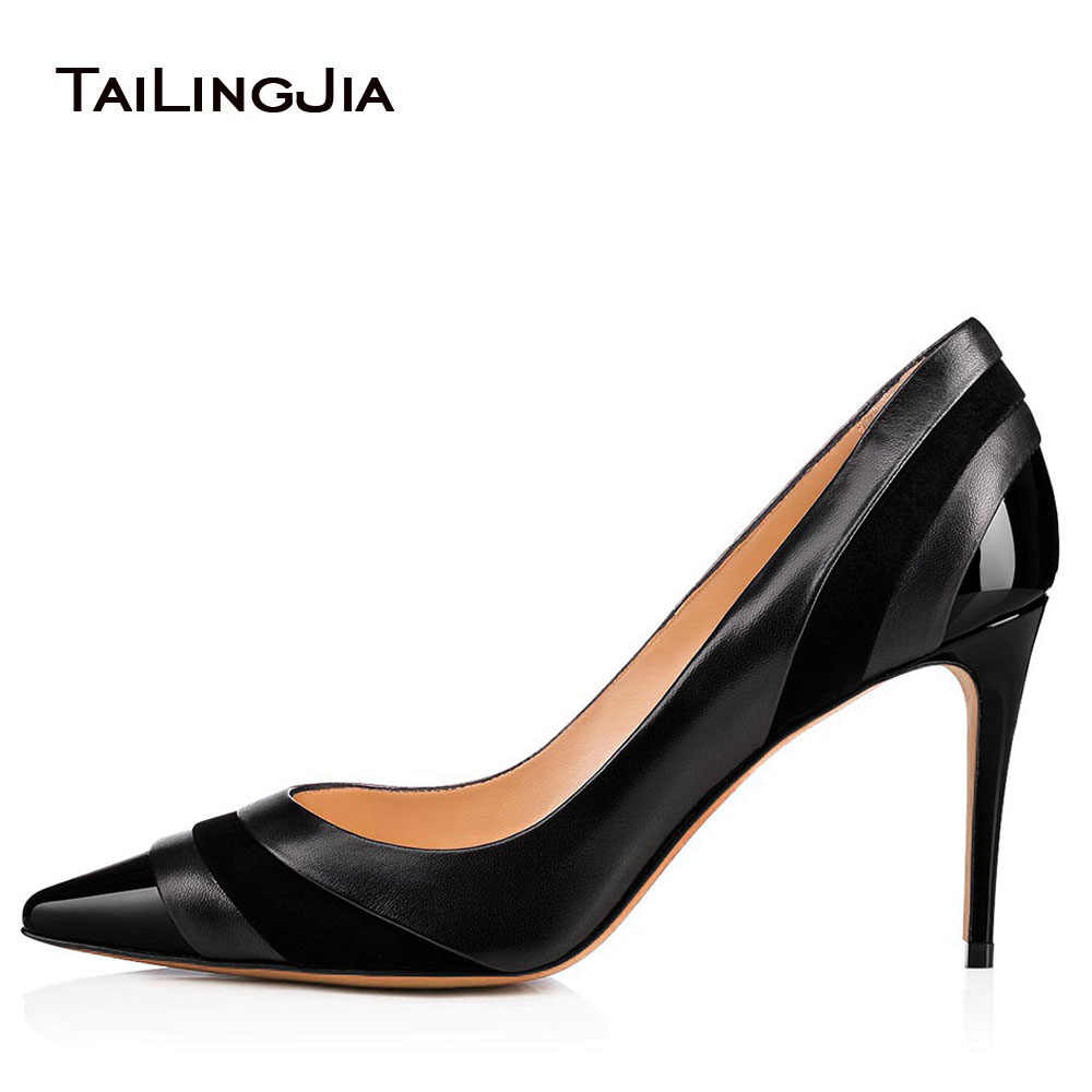 Tailingjia 2018 Big Size Pumps Women Stiletto Middle Heel Pointed Toe Shoes  Ladies Summer Office Career 8e74845dee95