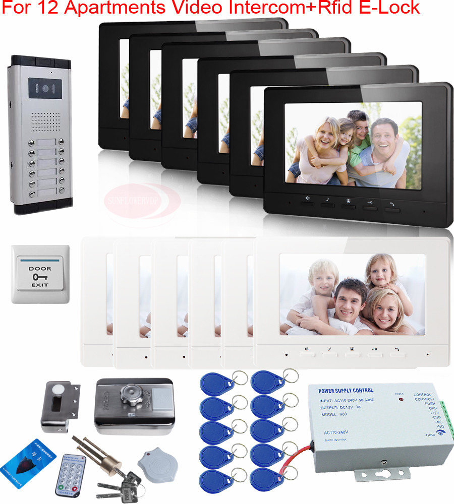 Video Intercom With Rfid Electric Lock In A Set 12 Pcs Color 7inch Indoor Monitors Doorphone With Camera 12 Buttons In Stock