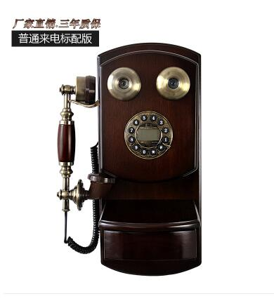 old ID telephone European antique wooden wall phone Old fashioned rotary dialing Retro cable wireless Card phone fixing machine