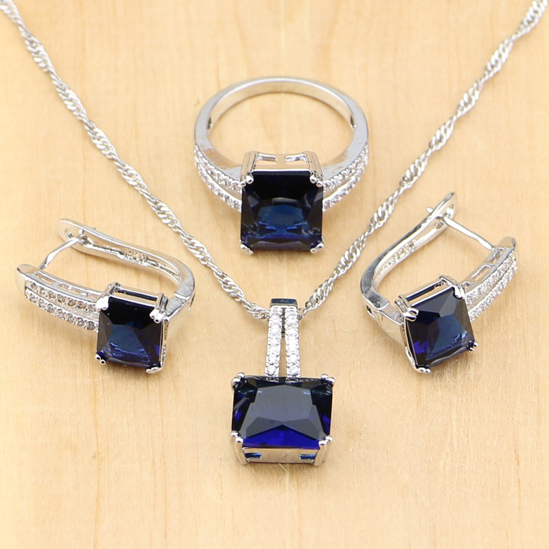 Mystic Square Blue Zircon Silver 925 Jewelry Sets For Women Wedding Accessories Earrings/Pendant/Necklace/Rings
