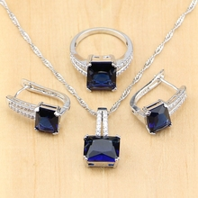 Mystic Square Blue Zircon Silver 925 Jewelry Sets For Women Wedding Accessories Earrings/Pendant/Necklace/Rings jexxi gorgeous rainbow clear zircon wedding party jewelry sets women square 925 sterling silver pendant necklace earrings set