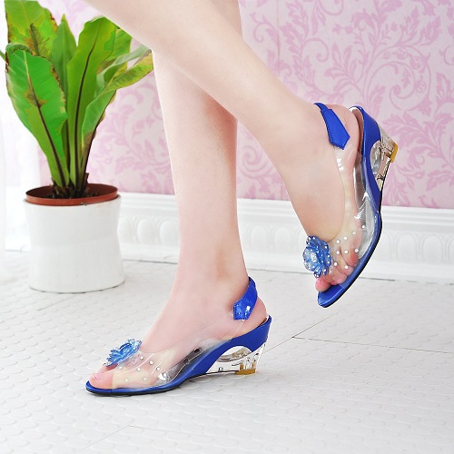 New Season New Glass Glue Crystal with Slope Heel High Heel Flower Fish Beak Rhinestone Sandals Women's Shoes