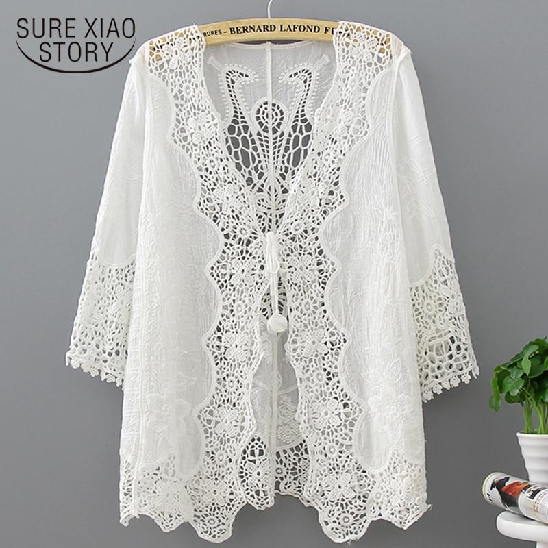 Plus Size Women White Blouse Women Shirts Lace Sunscreen Shirt Beach Shawl Womens Tops And Blouses Half Women Shirts   3165 50