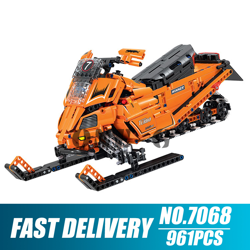 Building blocks 7068 Compatible with Technic Turbo Snowmobile Moto Snow Motorcycle Motorbike figures toys for children