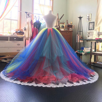Chic Rainbow Puffy Tulle Skirts For Bridal Pleated Tiered Floor Length Long Tutu Skirt Women With Appliques Custom Made 2018