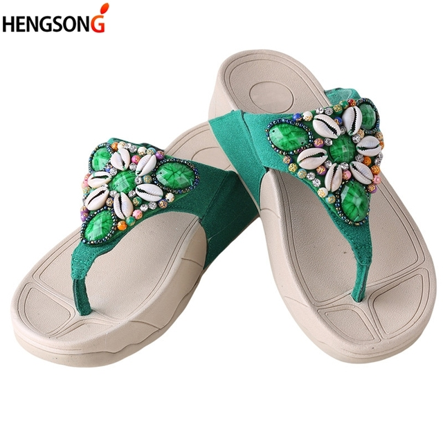 c02855ac1 Women Flip Flops Rhinestone Shell Beading Beach Sandals Fashion Bohemian  Slipper Platform Thick Wedge Flip Flops Shoes Woman