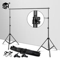 Background Stand Support System Adjustable Backdrops Frame Pro Green Screen Backdrop Crossbar Photo Studio Kit + Carry Bag Clip